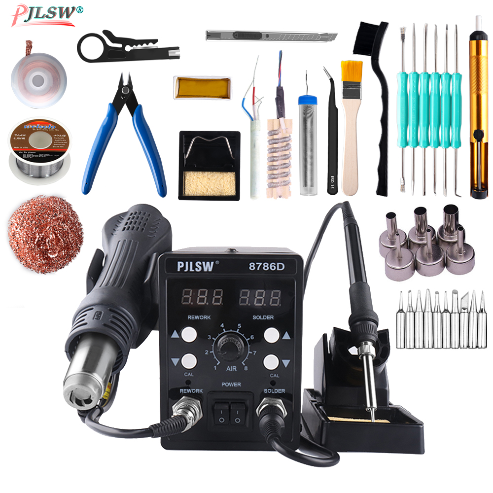 8786D EU/US/UK Plug 750W Blue Digital 2 In 1 SMD Rework Soldering Station Repair Welding Soldering Iron Set PCB Desoldering Tool