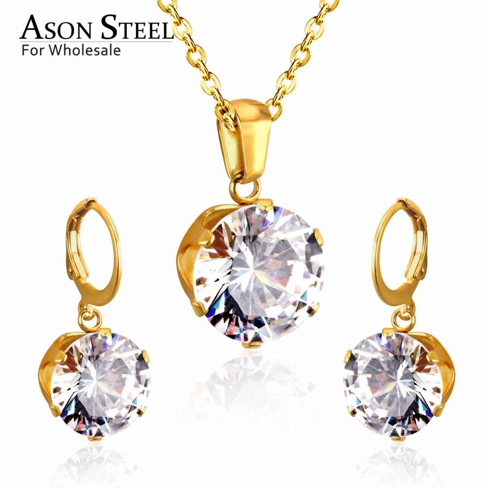 ASONSTEEL Bridal Jewelry Sets Round Cubic Zirconia Pendants Stainless Steel Drop Earring Fashion Accessories Mujer Party Wedding