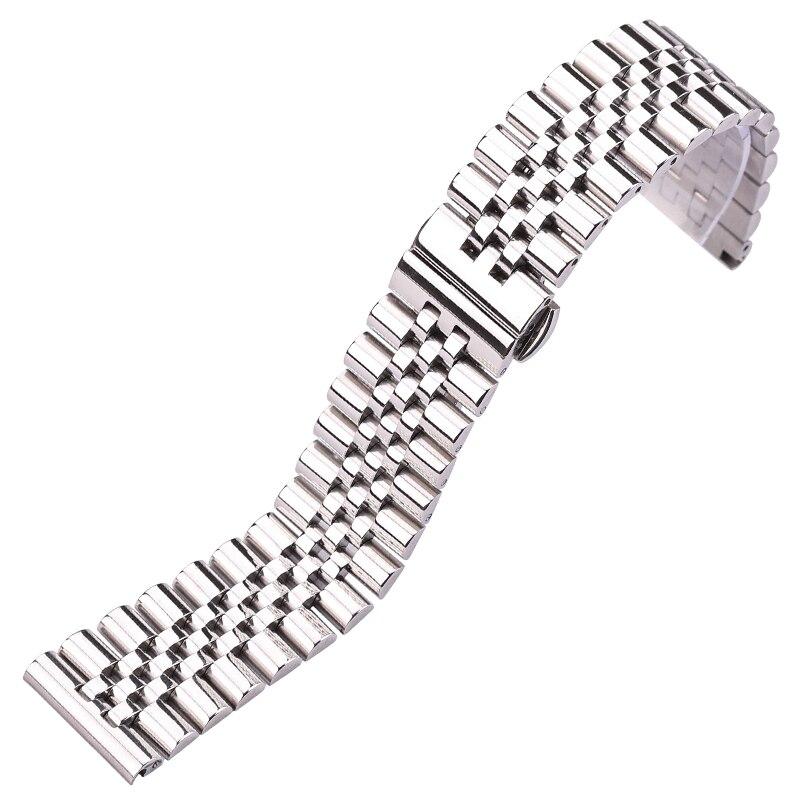 Correa de reloj pulsera plata pulido Acero inoxidable accesorios de reloj 16 18 19 20 21 22mm correa de Metal sólido Pulsera para mi Band 4 3 correa de muñeca de Metal sin tornillos de acero inoxidable para Xiaomi mi Band 4 3 pulseras de correa pulseira mi banda 4 3
