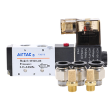 цена на 4v210-08 Single Coil 2 Position 5 Way Pneumatic Solenoid Valve 12V 24V 110V 220V  Fittings  Compressor Accessories