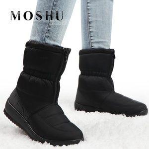 Image 2 - Su geçirmez kış kar botları yarım çizmeler kadınlar için sıcak kürk astarı Platform ayakkabılar bayanlar Botines siyah Botas Mujer Invierno 2020
