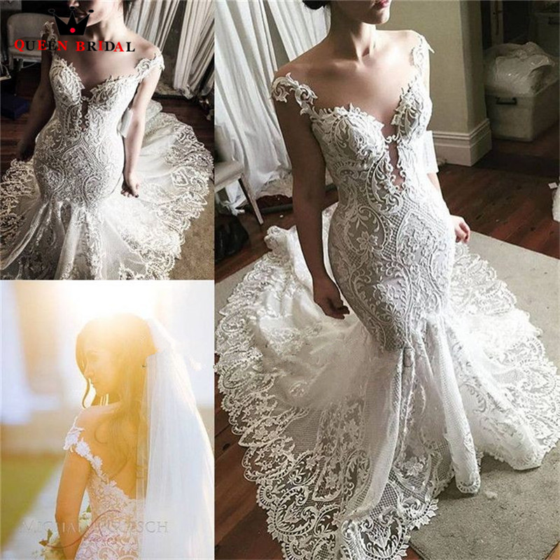 Sexy Wedding Dress Mermaid Fish Tail Tulle Lace Appliques 2020 New Design Vintage Formal Bridal Gowns Custom Made SH05