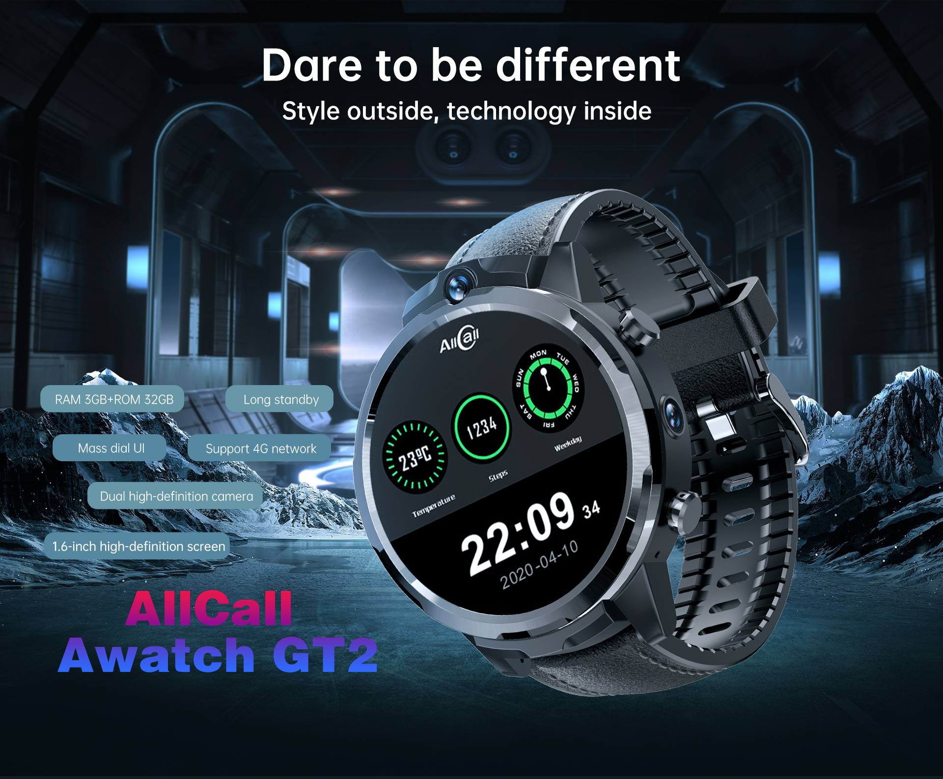 AllCall Awatch GT2 Smartwatch Men with GPS Tracker 4G SIM Card WiFi Waterproof Sports Smart Watch 2020 for Xiaomi Huawei Apple