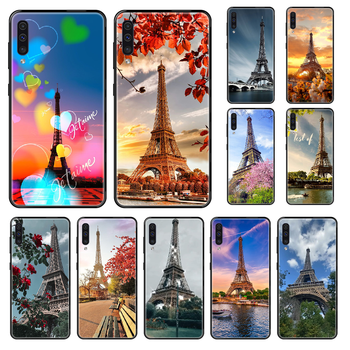 Eiffel Tower Phone case For Samsung Galaxy A 3 5 8 9 10 20 30 40 50 70 E S Plus 2016 2017 2018 2019 black silicone funda image