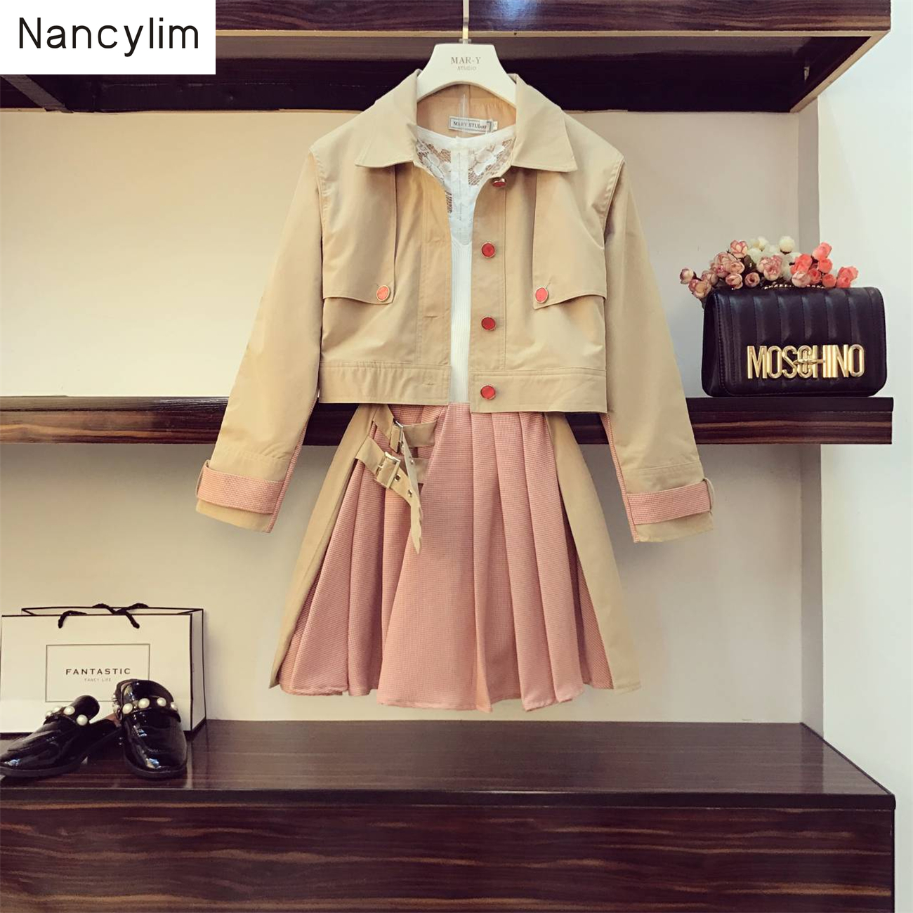 2piece Sets Women New Loose Short Jacket + Irregular Pleated Skirt Girl Lady's Temperament Skirts Set Femme Streetwear Outfits