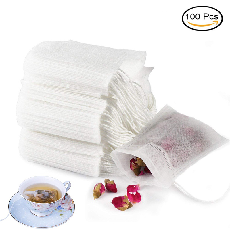 Tea Filter Bags 100pcs/Lot U Shape Disposable Tea Infusers Filter Teabags Drawstring Seal Paper Empty Tea Bag For Herb Loose Tea