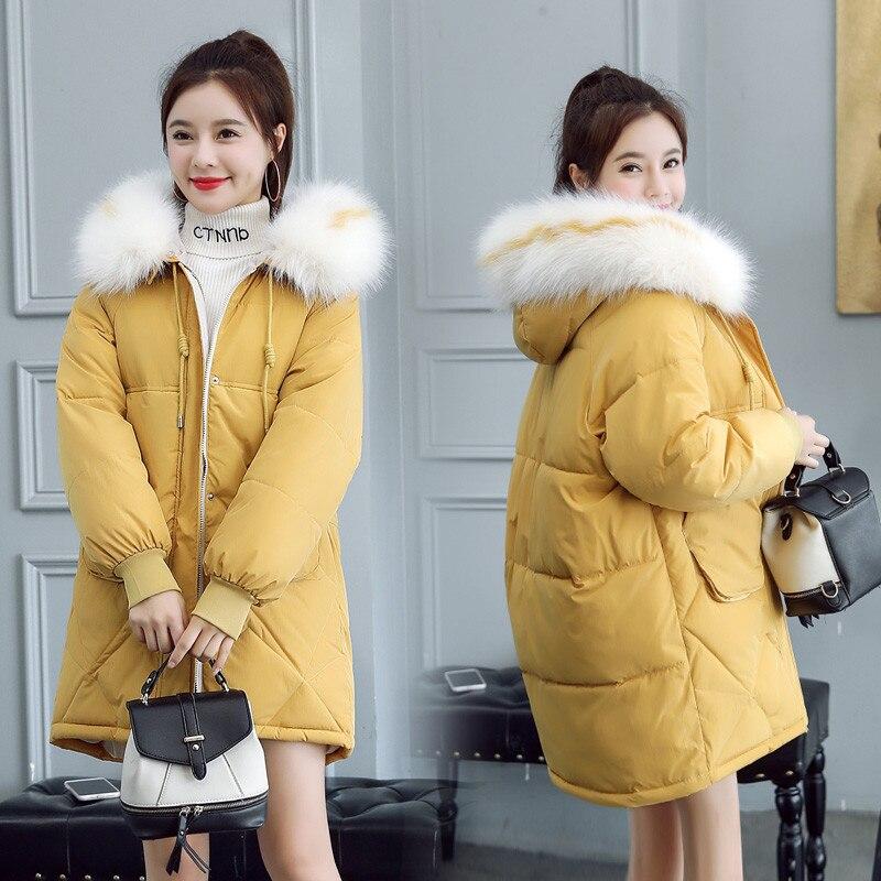 2019 New Autumn winter Medium length Hooded Women parka Solid zipper Long sleeve Thick Outwear Coat Jacket Fashion Cotton 5
