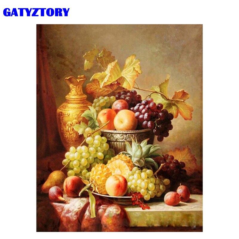GATYZTORY рамка для фруктов, DIY Краска по номерам, современное настенное искусство, ручная краска, масляная краска ed, Акриловая Краска на холсте ...
