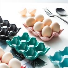 Egg-Holder Tray Storage Anti-Slip-Box Ceramic Organization-Tools Kitchen Multicolor Home