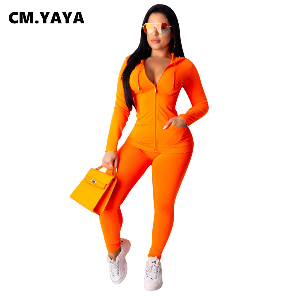 CM.YAYA autumn Women Solid zipper up long sleeve hooded top pencil pants suit two piece set casual sporting tracksuit outfit 6