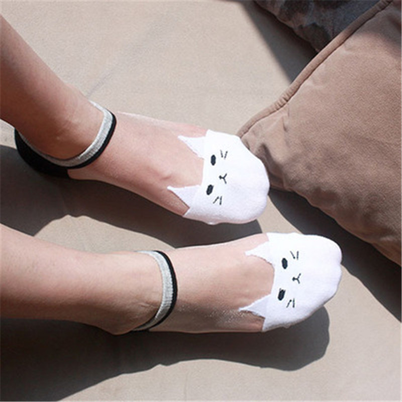 1Pair Cute Print Cat Harajuku Transparent Socks Women Girls Summer Fun Animal Low Hipster Lovely Invisible Ankle Sock Female Sox