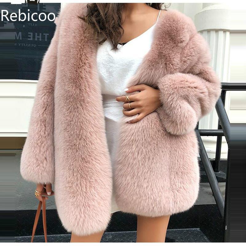 New Full Pelt Fox Fur Coat Warm Winter Ladies Fake Fox Fur Jackets Real Fur Coats Outerwear For Women