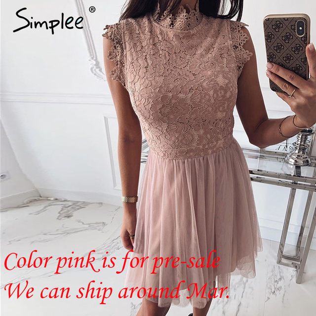 Simplee Women sleeveless lace dress Sexy embroidery floral black short party dress Ladies spring chic night club summer dress 8