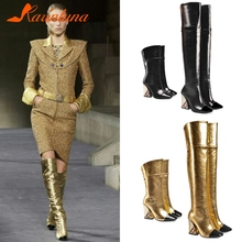KARINLUNA New Luxury Brand Over The Knee Boots Ladies Thigh High Women 2019 Runway Show Heels Shoes Woman 33-43