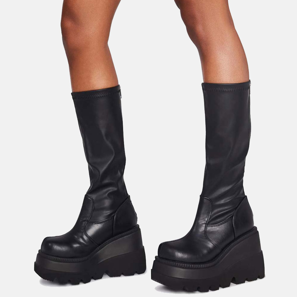 Brand New Big Size 43 Shoelaces Wedge High Heels Platform Tide Trendy Cool Autumn Winter Mid Calf Boots Shoes Women Footwear