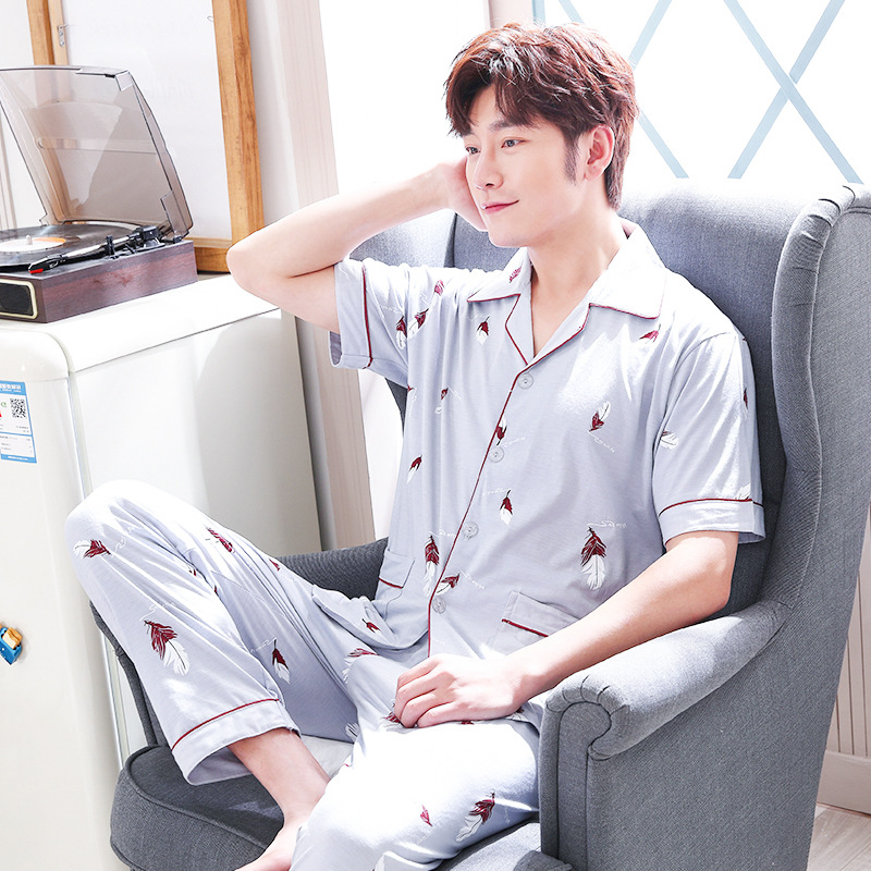 2019 New Style (Not Balling Up Series) Pajamas MEN'S Short Sleeve Spring And Autumn Thin 160 Grams 65/35 Cotton Cardigan Suit