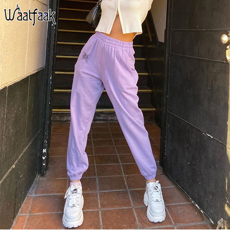 Waatfaak Skinny Harem Sweatpants Women High Waist Casual Joggers Butterfly Print Hip Hop Capri Sweat Pants Harajuku Fitness 2020
