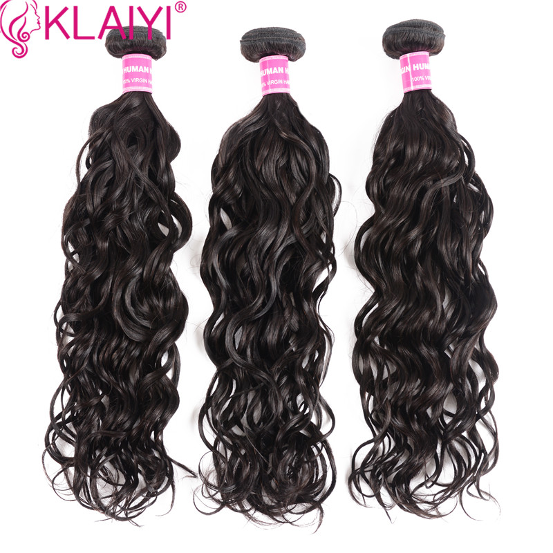 KLAIYI Hair Brazilian Natural Wave Hair Bundles Double Weft Human Hair 3 Piece 8-26 Inch Natural Black Remy Hair Weave