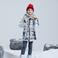 Fashion Shiny Winter Thicken Waterproof Long Child Coat Cotton Girls Jacket Warm Kids Outfits Children Outerwear For 110 155cm