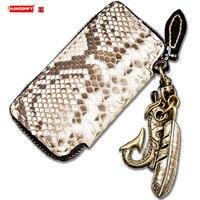 Handmade python skin small wallet genuine leather coin purses short zipper wallet snakeskin card bag purse retro key case bags
