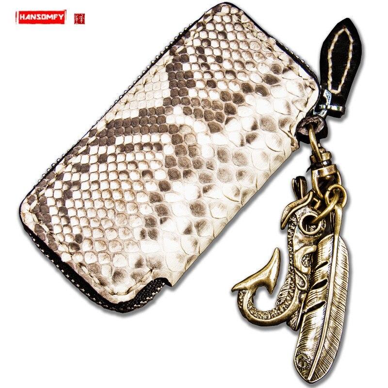 Petit portefeuille fait main en peau de python porte-monnaie en cuir véritable porte-monnaie court à glissière porte-monnaie en peau de serpent sac à main sac à main rétro porte-clés sacs