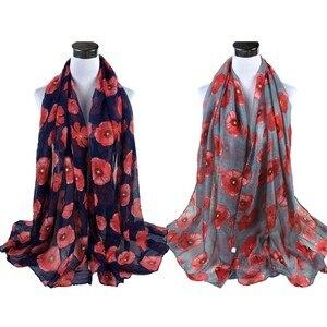 Red Poppy Print Long Scarf Flower Beach Wrap Ladies Shawl scarf women echarpe hiver femme foulard femme szaliki i chusty #30