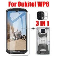 3-em-1 caso + câmera de vidro temperado para oukitel wp6 screenprotector vidro para oukitel wp6 3d vidro
