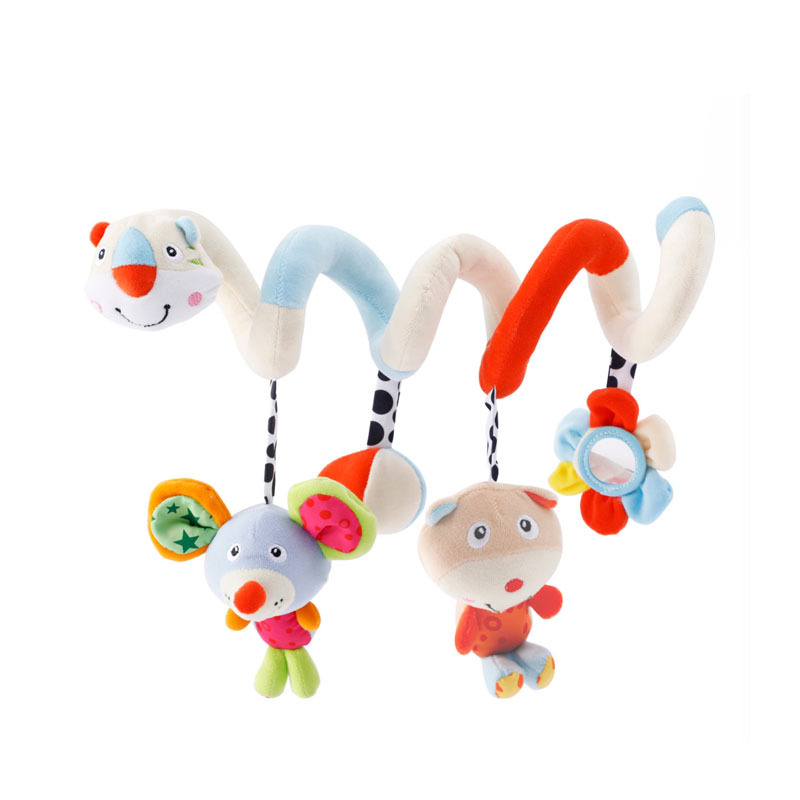 Sound Toys For Babies 0-12 Months Spiral Toy On The Bed Wind Bell Soft Rattles Toy Pram Toys For Young Stuffed Cartoon AA50YL