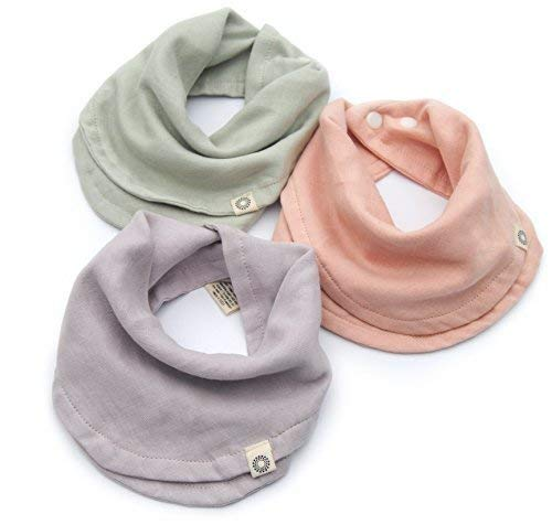 Baby - Infinity Scarf Bibs - Organic Drool Bib For Girls Or Boys With Snaps - 100% Organic Cotton Muslin