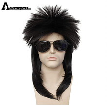 ANOGOL 80s Costume Rocking Dude Punk Metal Disco Mullet Synthetic Cosplay Wigs Multicolor Short Curly Black Mike Jackson Wig