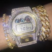 Hip Hop/Punk Gold Men's Bracelets Iced Out natural White Sap