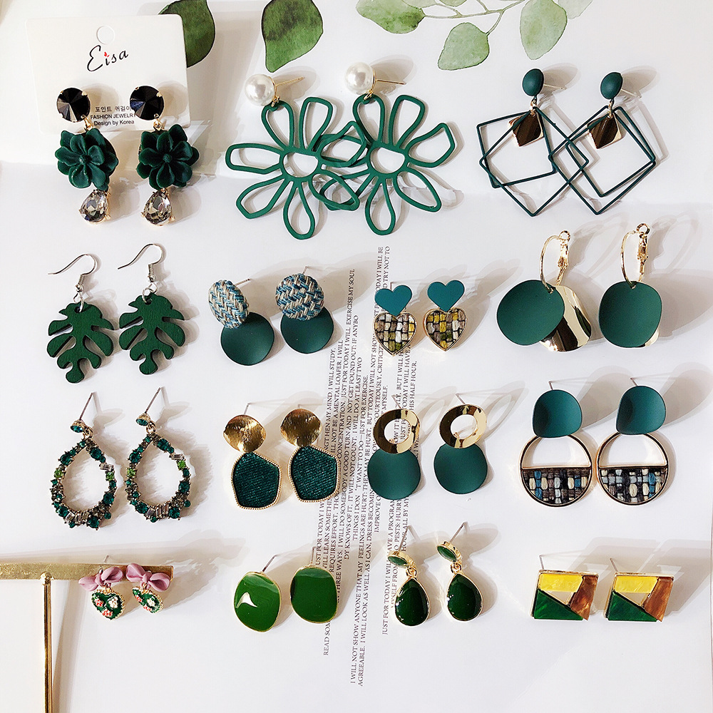 Fashion Jewelry Green Geometric Acrylic Wood Irregular Hollow Circle Square Drop Earrings Metal Dangle Earrings Women Jewelry