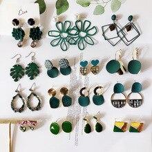 Joyería de Moda Verde geométrico acrílico madera Irregular hueco círculo gota cuadrada pendientes colgantes de Metal joyería de las mujeres