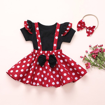 2020 New Toddler Baby Girls Clothes Set Solid T-Shirt Polka Dot Suspender Skirt Outfit Summer Minnie Mouse Clothes For Baby Girl