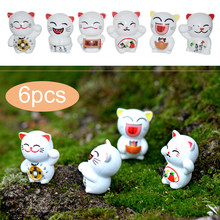 Resin Fortune Cat Miniature Craft Miniature Statues Emulation Exquisite Fairy Garden Figurine Dollhouse Yard Decor 6PCS/Set(China)