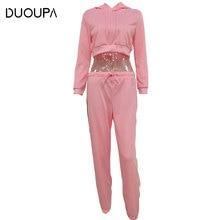 DUOUPA 2019 Hot  New Fashion Sweater Two-piece Sportswear Street Womens Cotton Hooded Trousers Set