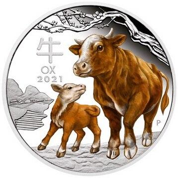 2021 ano de boi um troy onça moeda de prata austrália lunar ano novo gado colorido prata chapeado moedas comemorativas desafio