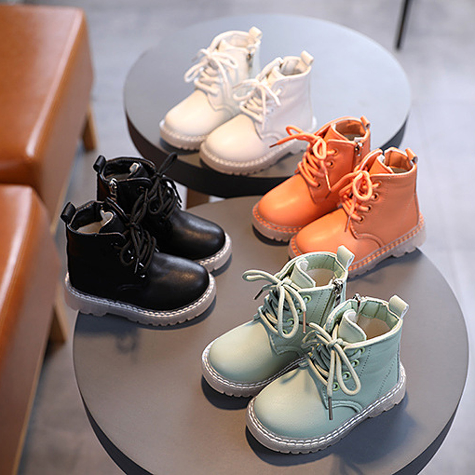 9-36Months Infant Martin Boots Baby British-style Solid Color Side Zipper Lace Up Shoes Kids Girls Firstwalker Autumn Spring New