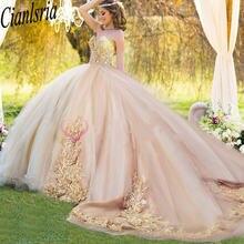 Элегантное Пышное Платье с длинным шлейфом милое платье аппликацией