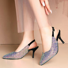 Sianie Tianie 2020 błyszczące cekiny bling pointed toe damskie buty na wysokim obcasie buty ślubne slingback sandały damskie plus rozmiar 33-46