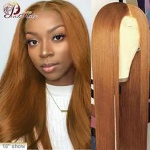 #30 прямые волосы Remy спереди, медовый блонд, человеческие волосы спереди 13*1, перуанские предварительно отобранные парики Pinshair 180%