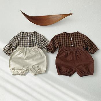 Nowy 2021 wiosna Boys Baby dziewczyny odzież zestaw jesień dzieci Boys Baby dziewczyny garnitur dziecko koszula w kratę + spodenki zestaw dziecięcy tanie i dobre opinie campure COTTON 3-6y 7-12y CN (pochodzenie) Unisex Moda O-neck Zestawy Swetry Pełna REGULAR Pasuje prawda na wymiar weź swój normalny rozmiar