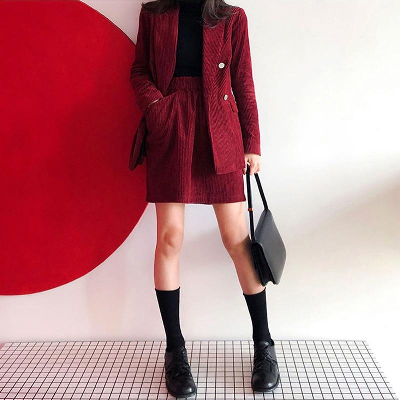 Mozuleva Vintage Corduroy Women Skirt Suit Female 2 Pieces Set Blazer Jacket & Elastic Waist Women Blazer Set 2020 Spring