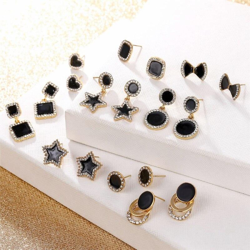 Fashion Korea Jewelry Black Heart Star Square Round Geometric Earrings For Women Luxury Crystal Earrings Statement Earrings 2020