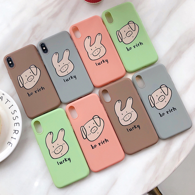 Cute Pig Phone Case For iPhone Couples Cartoon Soft TPU Silicone Back Cover 5