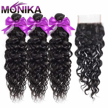 Monika Peruvian Hair with Closure Water Wave Bundles With Closure Wet and Wavy Non Remy Human Hair Weave 3 Bundles with Closure - DISCOUNT ITEM  49% OFF All Category