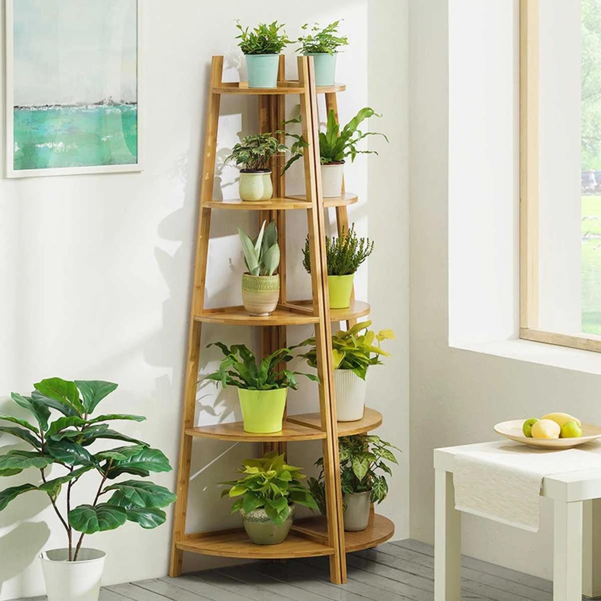 8/8 Tier Bamboo Plant Stand Flower Patio Garden Planter Pot Stand Shelf  Multi Tier Bonsai Display Outdoor Indoor Living Room