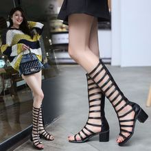 цены Spring and summer New Sandals Women Pumps With Zip Sexy Open Toe Sandals Shoes Woman Roman Gladiator High Hee Size 35-39 US-18