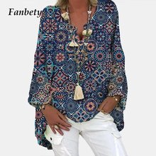 Shirts Tops Linen V-Neck Women Blouse Blusa Long-Sleeves Floral-Print Vintage Female