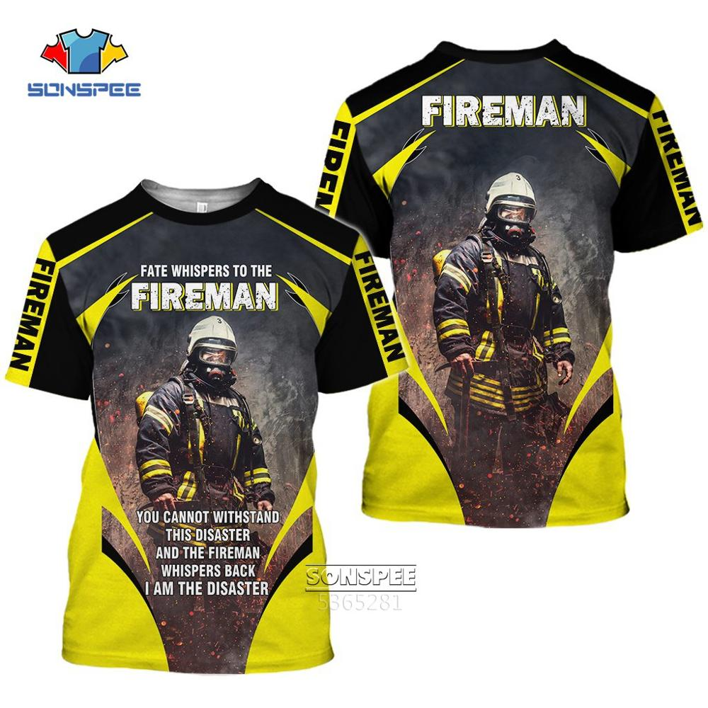 Футболка оверсайз для мужчин и женщин, крутая Повседневная модная рубашка с 3D-принтом пожарного, пожарного, с коротким рукавом, летняя уличн...